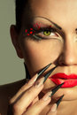 Creative fashion makeup and manicure Royalty Free Stock Photo