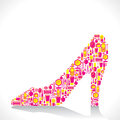 Creative fashion shoe design with beauty cosmetic product icon concept vector Stock Photography