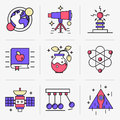 Creative Flat line icon set