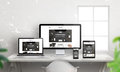 Creative flat responsive web site promotion on different devices Royalty Free Stock Photo