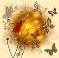 Creative flower  shiny background with butterflies Stock Image