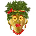 Creative food. Funny woman portret made from pears  and orange Royalty Free Stock Photo