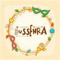 Creative frame for Happy Dussehra celebration.