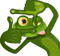 Creative frog illustration of a looking frame Royalty Free Stock Photo
