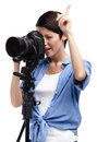 Creative girl-photographer takes shots Royalty Free Stock Photography