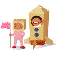 Creative girl playing as astronaut and boy in rocket made of car
