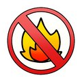 A creative gradient shaded cartoon no fire allowed sign