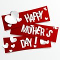 Creative happy mothers day card with hearts on rib ribbons vector illustration Stock Photo