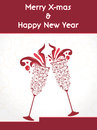 Creative happy new year design with champagne glasses celebration party poster banner or invitations and christmas Stock Photos