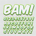 Creative high detail comic font. Alphabet of comics, pop art. Letters and figures for decoration of kids