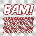 Creative high detail comic font. Alphabet of comics, pop art. posters, comics and banners