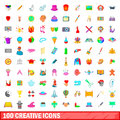 100 creative icons set, cartoon style