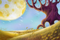 Creative Illustration and Innovative Art: Alien Planet Landscapes. Royalty Free Stock Photo