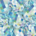 Abstract spheres glass conceptual pattern. White blue yellow crystal background.
