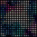 Retro disco mosaic abstract texture. Pink blue green dots pattern.