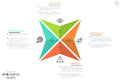 Creative infographic design layout, 4 triangular arrows with letters, icons and text boxes