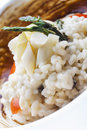 Creative italian cuisine white asparagus risotto licorice sauce Stock Photography