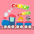 Creative Kids Go on Train Design Vector Art Logo Royalty Free Stock Photo