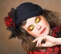 Creative lady portrait of pretty in vintage hat and with artistic make up Stock Photo