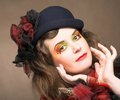 Creative lady portrait of pretty in vintage hat and with artistic make up Royalty Free Stock Photo