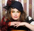 Creative lady portrait of pretty in vintage hat and with artistic make up Royalty Free Stock Image