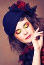 Creative lady portrait of pretty in vintage hat and with artistic make up Royalty Free Stock Photos