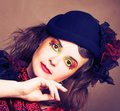 Creative lady portrait of pretty in vintage hat and with artistic make up Royalty Free Stock Photography