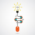 Creative light bulb idea concept and computer mouse symbol. Prog Royalty Free Stock Photo