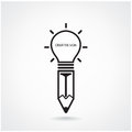 Creative light bulb and pencil sign Stock Photography