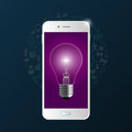 Creative light bulb with phone and icons. Vector Royalty Free Stock Photo