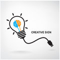 Creative light bulb sign Stock Photography