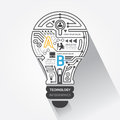 Creative lightbulb abstract circuit technology inf infographic vector Stock Images