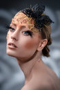 Creative Makeup. False eyelashes. Shallow depth of field Royalty Free Stock Photo