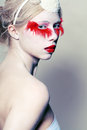 Creative makeup false red eyelashes high fashion model close up lips Stock Image