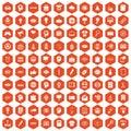 100 creative marketing icons hexagon orange