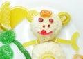 Creative marmalade fruit jelly sweet food monkey form Royalty Free Stock Photo