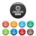 Creative mind icons set color Royalty Free Stock Photo