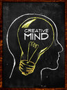 Creative mind sketch on blackboard Royalty Free Stock Photo