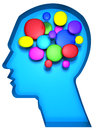 Creative minds or artist concept a human head with colorful cell abstract brain illustration Stock Photography