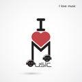 Creative music note abstract vector logo design. Musical creativ