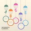 Creative parachute infographics design vector illustration abstract Royalty Free Stock Images