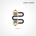 Creative pencil and book icon abstract logo design vector templa