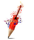 Creative pencil red  acoustic guitar and music. Royalty Free Stock Photography