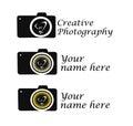 Creative Photography logo idea camera with bulb shutter