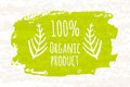 Creative poster colorful green 100 percent organic foods for the health of whole family isolated on white background with old pape Royalty Free Stock Photo