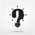 Creative question mark man head symbol and light bulb shape vector illustration contains gradient mesh Stock Images