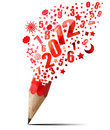 Creative red pencil 2012 year. Stock Photos