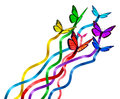 Creative release concept as a group of butterflies as colors of the rainbow with silk ribbons attached creating a new marketing Stock Images
