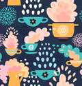 Creative seamless kitchen pattern background with cups teapots coffee and pan saucepan pots pans Royalty Free Stock Photography