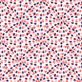 Creative seamless pattern with freehand creative ornament. Pink dots abstract background. Vector textile template or wrapping pape